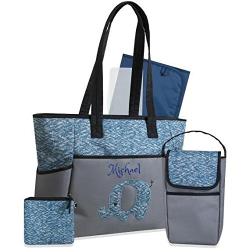 Dreams Embroidery - PERSONALIZED Premium Diaper Bag | Baby Tote Bags | 5 in 1 Diaper Bag set - Free Monogram/Name Embroidered | Ideal for Gift (Blue Elephant)