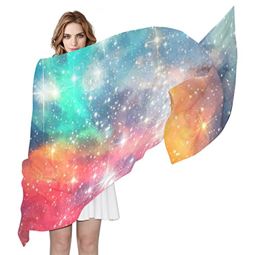 Planet Silk (HUCCI Womens Lightweight Long Silk Scarf Galaxy Planet Owl Beach Sunscreen Shawl)