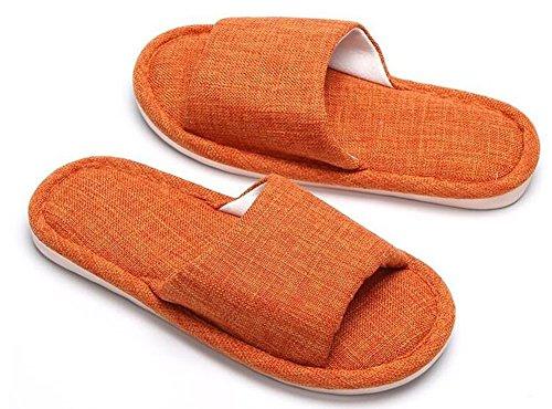 Plegable Lino Zapatillas Acogedor Hotel Beauqueen Toe algodón Comforty Ligeras Mujeres Naranja y Open Suelas Inicio Zapatillas Zapatillas Dormitorio y Suaves Flax Dormitorio Antideslizante qHqvUtw