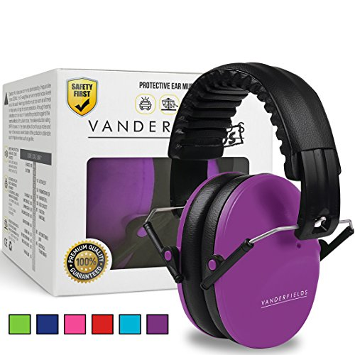 Vanderfields Earmuffs for Kids Toddlers Children - Hearing Protection Ear Defenders for Small Adults Women - Foldable Design Ear Defenders Adjustable Padded Headband Noise Reduction (Purple Power)