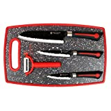 Imperial Collection 5 Piece Knife Set Including Cutting Board - Extremely Sharp Stainless Steel NonStick Coating Kitchen Knives With A Great Grip (White)