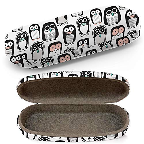 Hard Shell Glasses Protective Case With Cleaning Cloth Eyeglasses Sunglasses - Quirky Kids Penguin Owl