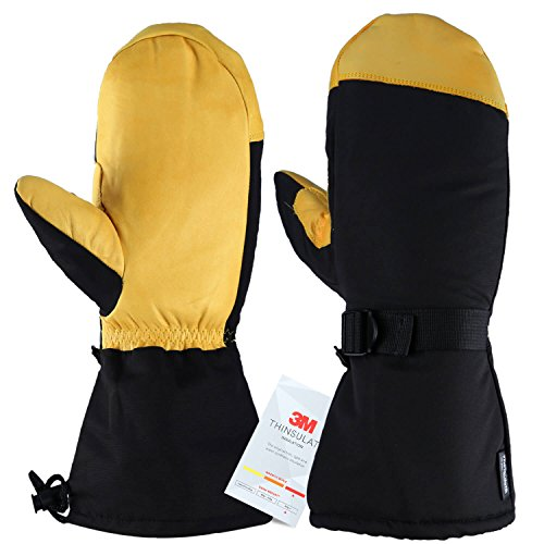 OZERO Ski Mittens, -40°F Cold Proof Winter Skiing Mitten - Five Fingers - 150g 3M Thinsulate Insulated Cotton & 5-inch Long Sleeve - Waterproof Nylon & Cowhide Leather Palm for Women/Men - Yellow/L