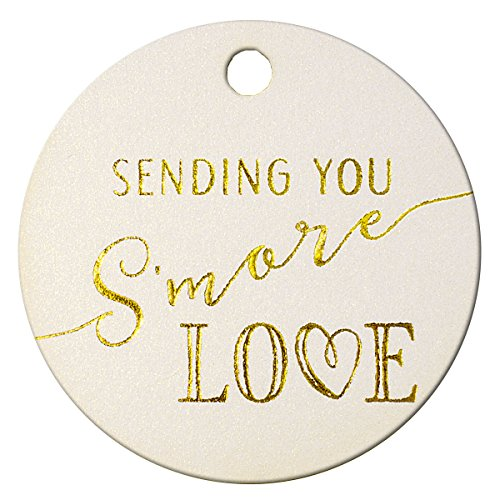 (Summer-Ray 50pcs Gold Foil Hot Stamping Sending You S'More Love Wedding Favor Gift Tags (Shimmered White, Round))