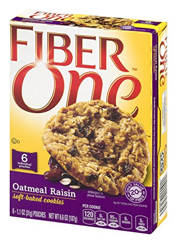 - GMI FIBER ONE COOKIES 6 Piece Oatmeal Raisin Soft-Baked Cookies Box, 6.6 oz