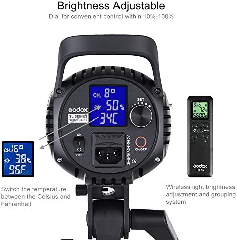 Godox SL-60W LED Lampe 60W 5600K Video Licht 60* 60cm Softbox+2m Stativ