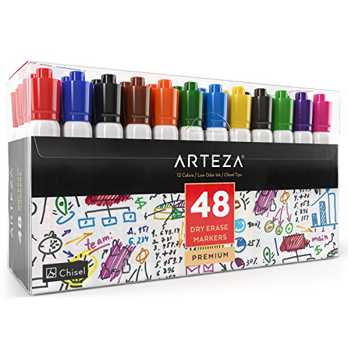 Arteza Dry Erase Markers, White Board Pens, 12 Colors, Multicolor, Set of 48