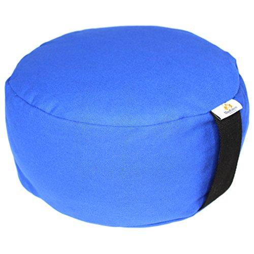 Zafu Yoga Meditation Cushion Cotton Organic Buckwheat Fill with Meditation Bracelet