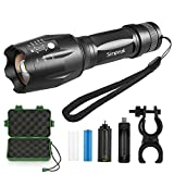 Tactical Flashlight, Simpeak 900 Lumen Rechargeable Aluminum CREE XM-L T6 Handheld LED Flashlight Torch with 18650 Battery + Charger and Bike Mount, 5 Lighting Modes, Zoomable, Waterproof