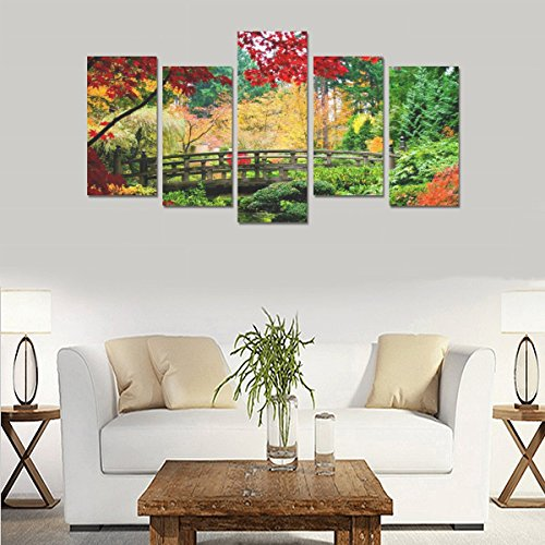 Children's room custom mural Water Nature Trees Autumn Multicolor Flowers canvas print bedroom or living room features oil painting 5 pieces, ready for framing (No Frame). by sentufuzhuang Canvas Printing