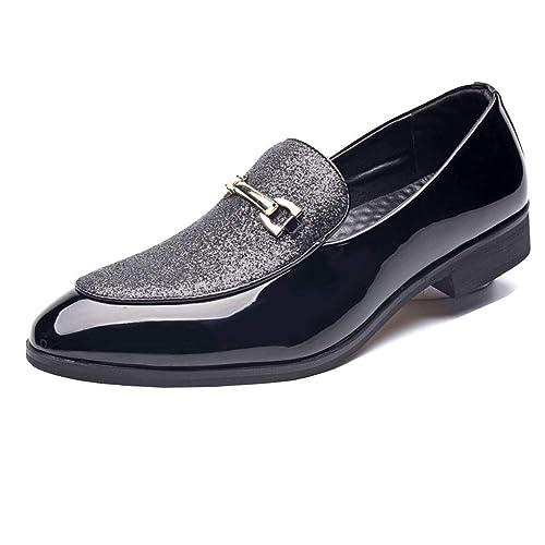 NXY Zapatos Casuales de Charol para Hombre Mocasines Estilo británico Ponerse Zapatos de Boda de Vestido Formal Negro: Amazon.es: Zapatos y complementos