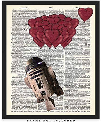 R2D2 With Heart Balloons Dictionary Wall Art Print: Unique Room Decor for Boys, Men, Girls & Women - (8x10) Unframed Picture - Great Gift Idea for Star Wars Fans! ()