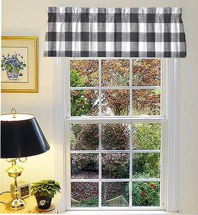 Window Treatment Farmhouse Valances, Curtains for your Kitchen, Bath, Living, Bed & Dining Room 52 x 16, Tested & Proven Impeccable Quality & Style - Buffalo Check Black - Made in USA