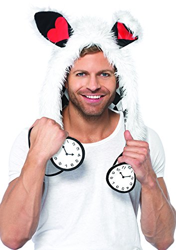 Leg Avenue Rabbit Furry Hood with Clock Ties Costume Accessory, White, One Size (Hood Costume Accessories)