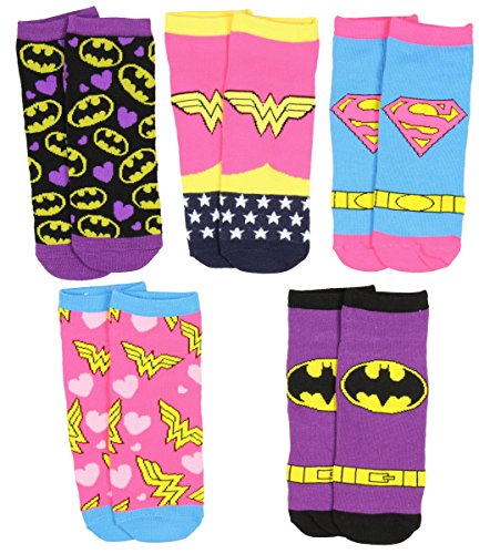 Dc Female Superheroes (DC Comics Womens Girl Superhero Logo Socks 5 Pair)
