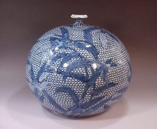 有田焼伊万里焼 花瓶陶器花器壺 贈答品 高級ギフト 記念品 贈り物 染付雀絵藤井錦彩 B00HQAD02C