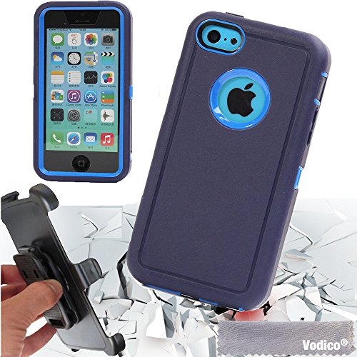 Vodico iphone 5C with belt clip Heavy Duty Full Body Protective Case Shockproof Dustproof Defender Case Cover w/ Built-in Screen Protector -Blue (Channel Case For Iphone 5c)