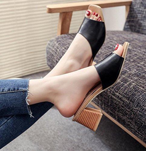 Sommer hochhackige Sandalen Fischkopf rau mit offenen Schuhen Sandalen und Pantoffeln Wort black