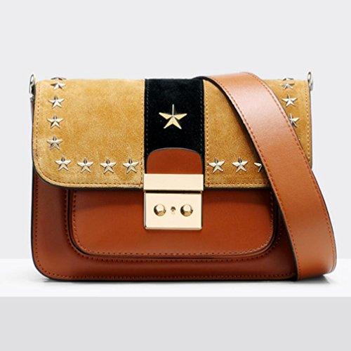 Rivet À Cowhide Sac Sacs Package Élégant Diagonale Sac Lady Véritable En Épaule Cuir Orange Pentagram TINGTING Main zwqO6d8z
