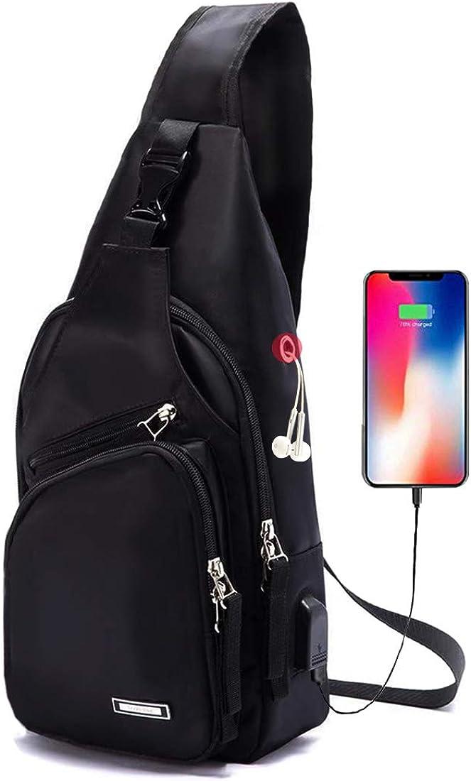 Men s Sling Bag Water Resistant Shoulder Chest Crossbody Bags Sling Backpack with USB Charging Port