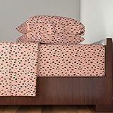 Animal Print 4pc Sheet Set Spots Cheetah Leopard Salmon Peach Dalmatian Decor Dots Baby Kids Nursery Polka Dots by Elliottdesignfactory 100% Cotton Sateen King Sheet Set