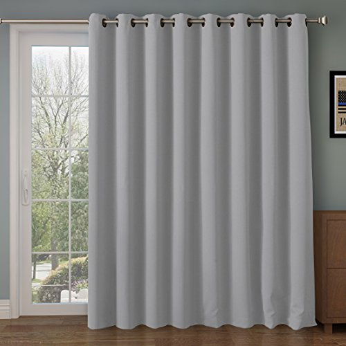 RHF Function Curtain-Wide Thermal Blackout Patio Door Curtain Panel, Sliding Door Insulated Curtains,Extra Wide curtains,Vertical Blinds,Grommet Curtains&Grey Curtains/Grey 100W by 84L - Antique Ring Blonde