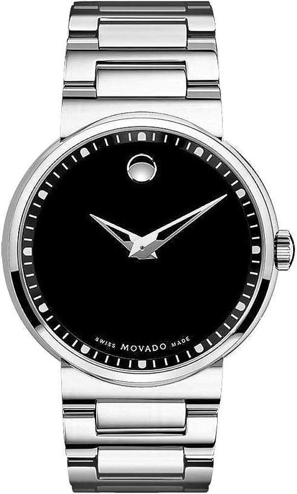 Movado Men s 0606433 Dura Tungsten Carbide Black Round Dial Watch