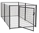 Dog Kennel Black- Lucky Dog Modular Box Kennel - This Welded Animal Enclosure is Perfect for Small to Medium Dogs and Animals and is Designed with Their Safety and Comfort In Mind. Dimensions (4'H x 10'L x 5'W); 110 lbs