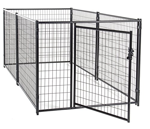 - Dog Kennel Black- Lucky Dog Modular Box Kennel - This Welded Animal Enclosure is Perfect for Small to Medium Dogs and Animals and is Designed with Their Safety and Comfort In Mind. Dimensions (4'H x 10'L x 5'W); 110 lbs