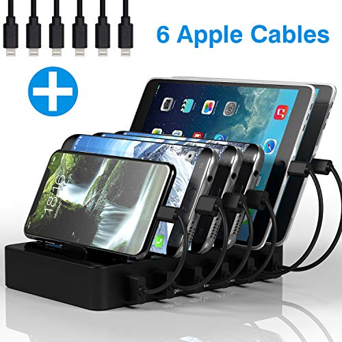 Charging Station for Multiple Devices MSTJRY 6 Port USB Charging Dock for Cell Phones Tablets Black Charger Port(6 Cables Included)