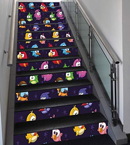 Stair Stickers Wall Stickers,13 PCS Self-adhesive,Funny,Angry Flying Birds Figure with Various Expressions Game Toy Kids Babyish Artsy Image,Multicolor,Stair Riser Decal for Living Room, Hall, Kids Ro ()
