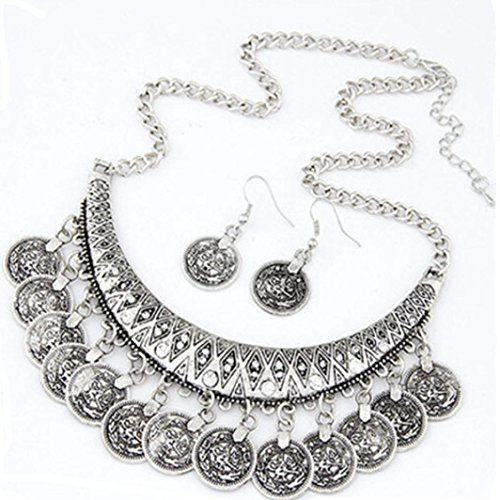 - Alloy Necklaces Earrings , Fheaven Vintage Chokers Necklaces Ethnic Carved Coins Nice Necklaces&Earrings (Silver)