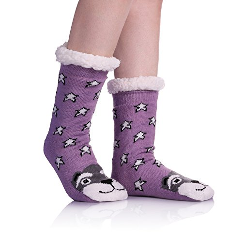 Womens Sherpa Winter Fleece Lining Knit Animal Socks Non Slip Warm Fuzzy Cozy Slipper Socks Stars Dog ()