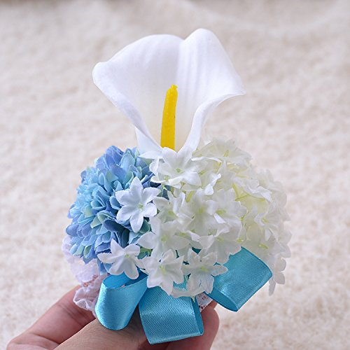 Abbie Home White Calla Corsage Daisy Flower Elastic Wristband for Prom Party Bridesmaid on Wedding