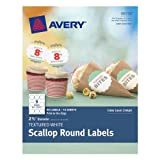 Avery Textured Scallop Round Labels, White, 2.5-Inch Diameter, Pack of 90 (8218)