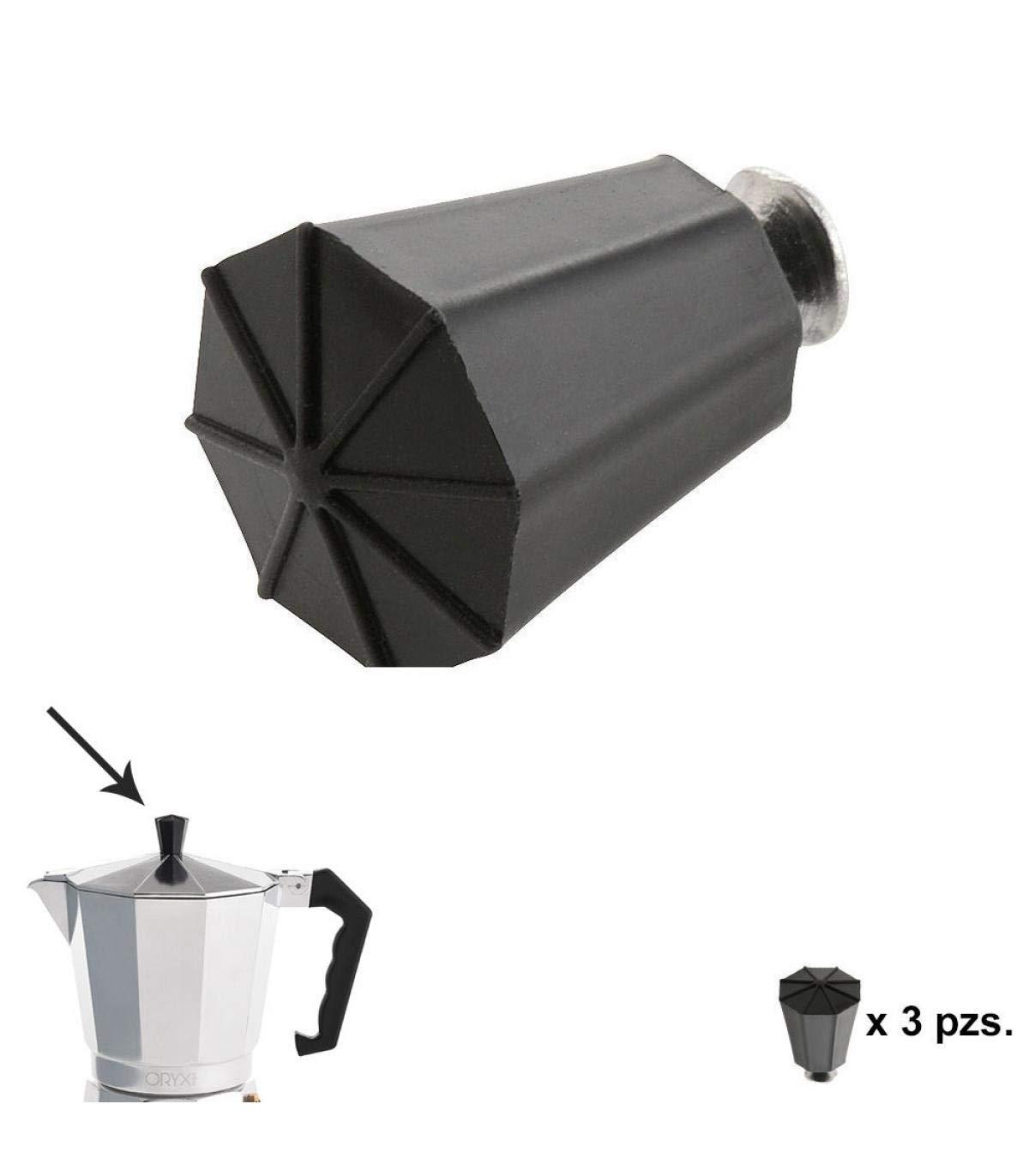 ORYX Pomo Cafetera 2/3 / 6/9 y 12 Tazas, Negro, 10x10x4 cm, 3 ...