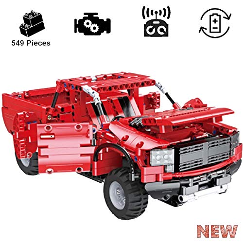 KareFLASH RC Red Pickup Truck | Lego technic Compatible Building kit | USB Rechargeable Batteries for The Electric Engine | IQ Maker and 3D Vision | Engineering Toy to Build and drivet it!