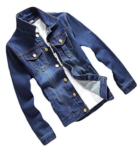 Mens Jacket Denim 5 Generic breasted Coat Fit Slim Pocket Single OAxdw7Z