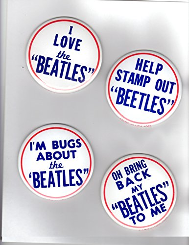 Vintage Pinback Button - Set of 4 Vintage Beatles Pinback Buttons Replica / Copy