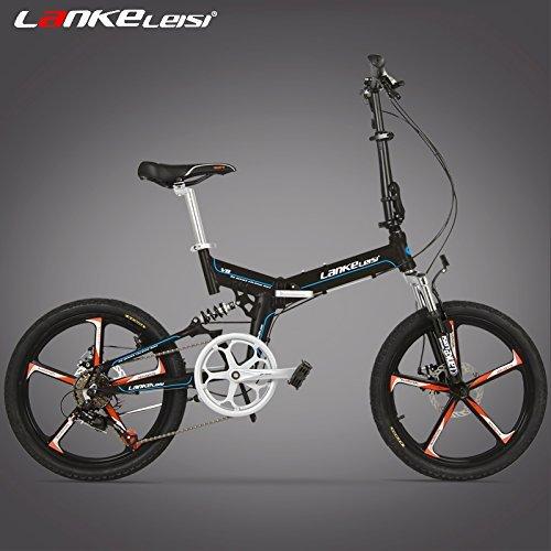 V8 20インチ折りたたみ自転車、一体型マグネシウム合金リム、両方のディスクブレーキ、最高品質のスピードコントロールシステム、7スピード B0792QJDKP 黒 黒
