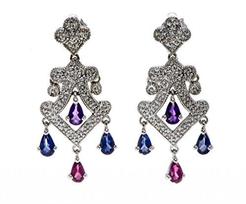 Clearance Estate Sterling Silver Real Tanzanite  Amethyst   Rhodolite Garnet Dangle Earrings