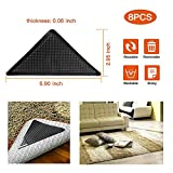 Trithruly Non-Slip Rug Grippers, Carpet Gripper for Area Rugs, Double Sided Anti Curling Area Rug Gripper, Washable and Reusable Rug Pads, Black, 8 pcs –Keeps Your Rug in Place & Makes Corners Flat