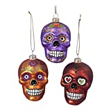 Glass Skull Ornament Set OF 3