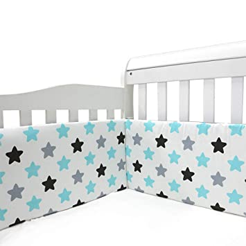 Grey Machine Washable Padded Crib Liner with Microfiber for Nursery Bed Crib Bumper Pads 4-Piece Breathable for Girls and Boys Safe Soft Baby Crib Bedding Bumper Protector for Standard Crib