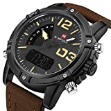 Tonnier Genuine Leather Brown Band Analog Digital LED Dual Time Display Alloy Matte Watchcase Mens Watch