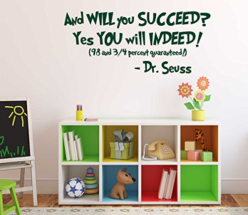 Dr Seuss Quotes Wall Decal Vinyl Decor And Will You Succeed Yes You Will Indeed Saying For Kids Playroom Bedroom Baby Nursery School Classroom Library Preschool Day Care Kids School