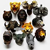 SPARIK ENJOY (TM) Set of 4 Awesome 3D Safari Animal Heads Refrigerator Magnets,Door Magnets, Wolf - Orangutan - Rhino - Tiger Fridge Magnets