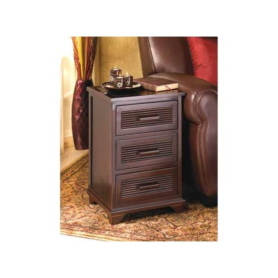 """StealStreet SS-EG-D1140 Santa Rosa End Table, 23"""" - Measurement: H: 23 x W: 12.375 x D: 15 Sleek and Attractive, This Dark Wood-Finished End Table is Equally At Home Beside a Bed, or Adding Storage Next to a Sofa Three Roomy Drawers Hold Plenty of Items Right At Easy Reach, Yet Neatly Out of Sight. Material: Wood, Aluminum - nightstands, bedroom-furniture, bedroom - 51R%2B7AxuysL. SS570  -"""