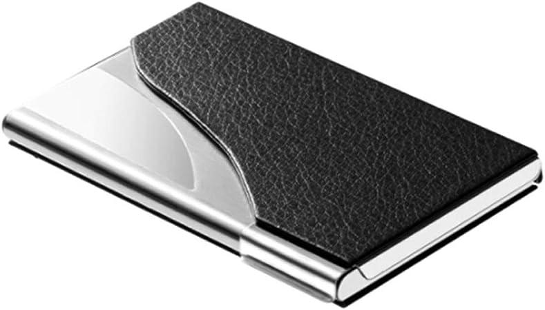 Tarjetero Para Tarjeta de Crédito Estuche para tarjetas de visita portátil Estuche de cuero para tarjetas de visita de acero inoxidable, Lichi Patrón de gran capacidad LOGO láser personalizado grabado: Amazon.es: Hogar