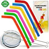 Manul Reusable Silicone Drinking Straws – Best Protection for Teeth, for Smoothies&Shakes – BPS&BPA Free, For Kids&Adults - Includes 2 Cleaning Brushes&Lid for 30 oz Tumbler, Multicolor Set of 6